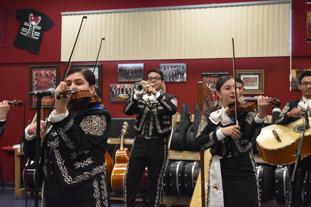 The Del Sol Academy Encendido Mariachi ensemble performs at Del Sol on Dec. 4, 2018. (Rachel Spacek/Las Vegas Review-Journal @Rachel Spacek)