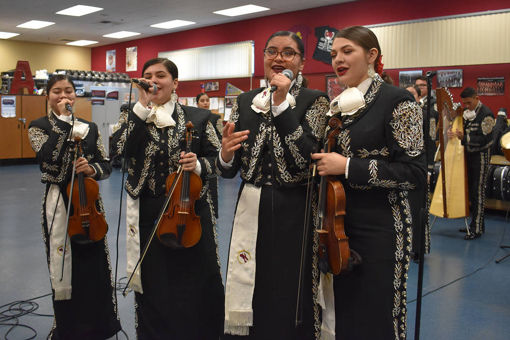 Ariana Gaona, fron left, Arleen Ramirez, Deborah Carrillo-Barquero and Haley Tiznado sing together during an informal performance at Del Sol Academy on Dec. 4, 2018. (Rachel Spacek/Las Vegas Revie ...