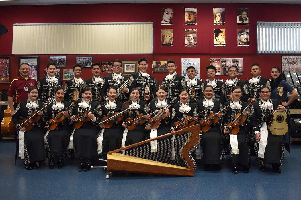 Del Sol Academy's Encendido Mariachi ensemble poses for a photo on campus on Dec. 4, 2018. (Rachel Spacek/Las Vegas Review-Journal @Rachel Spacek)