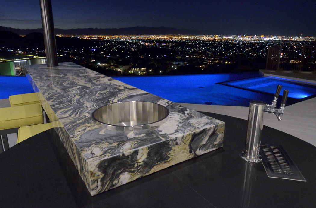 The back patio has sweeping views of the Strip. (Bill Hughes/Real Estate Millions)
