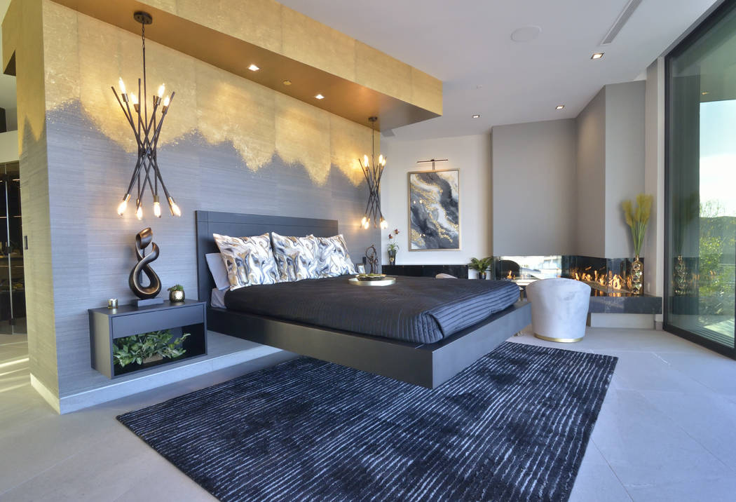The master bedroom of the home features high-end materials. (Bill Hughes/Real Estate Millions)