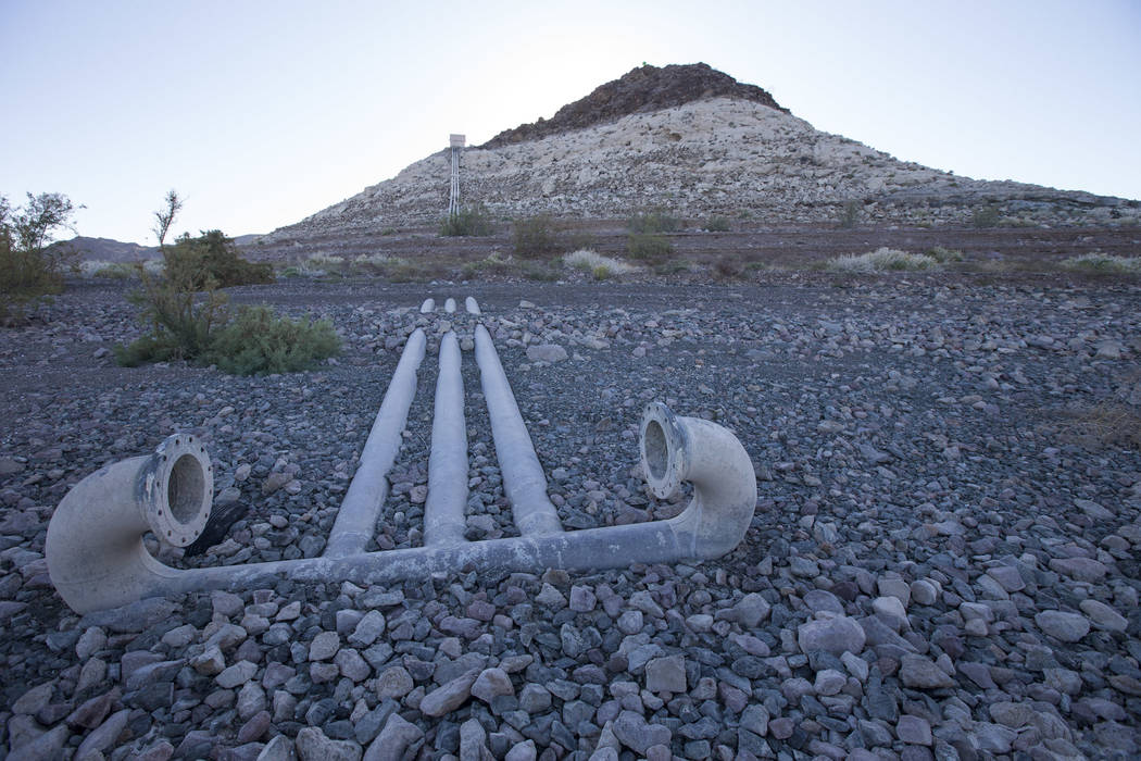 Water intake pipes sit high and dry above the water line near Boulder Harbor at Lake Mead National Recreation Area on Wednesday, Sept. 26, 2018. Richard Brian Las Vegas Review-Journal @vegasphotograph