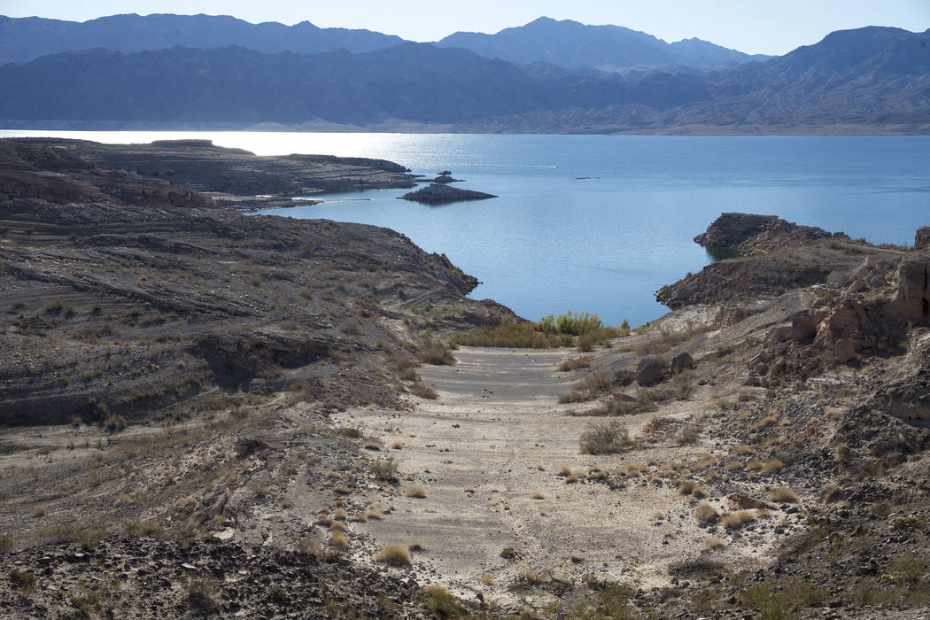 The effects of a receding shoreline just south of the Callville Bay Resort & Marina at Lake Mead National Recreation Area on Thursday, Oct. 18, 2018. Richard Brian Las Vegas Review-Journal @ve ...