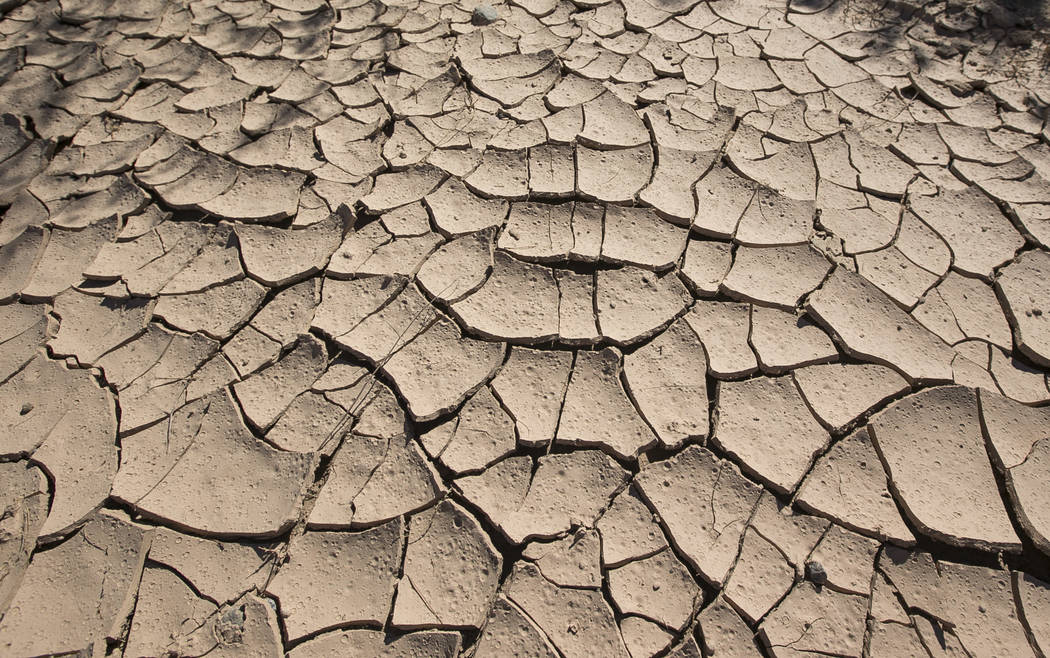 Dried and cracked mud at the defunct Echo Bay Marina at Lake Mead National Recreation on Thursday, Sept. 27, 2018. Richard Brian Las Vegas Review-Journal @vegasphotograph