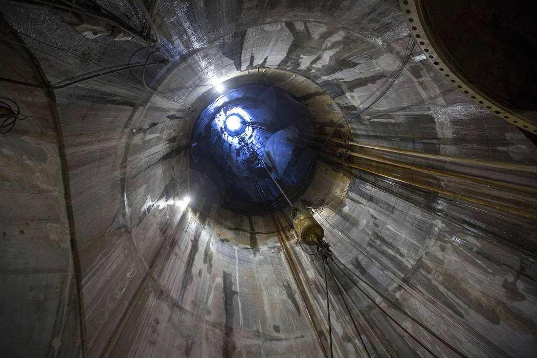 The look up the access shaft for the underground construction site for the Southern Nevada Water Authority's low-lake-level pumping station at Lake Mead National Recreation Area on Tuesday, Nov. 2 ...