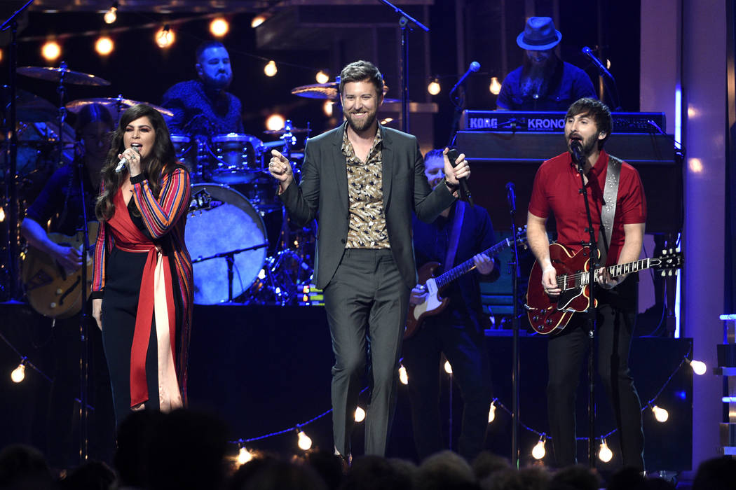 Hillary Scott, from left, Charles Kelley, and Dave Haywood, of Lady Antebellum, perform at the 52nd annual Academy of Country Music Awards at the T-Mobile Arena on Sunday, April 2, 2017, in Las Ve ...