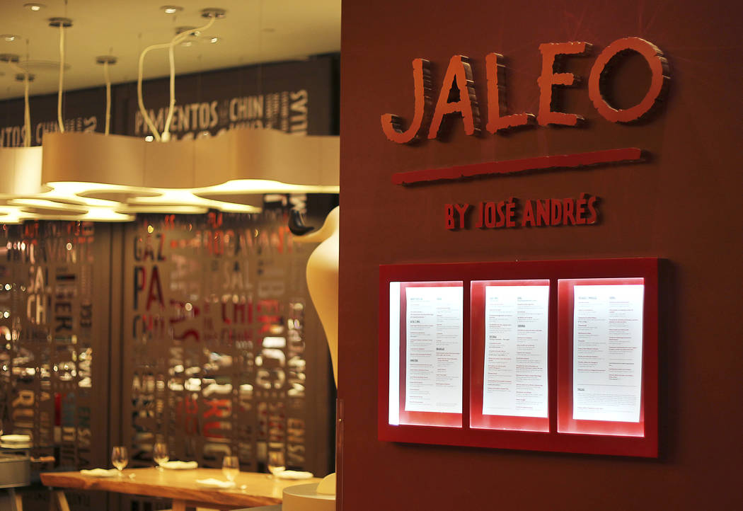 Jaleo by Jose Andres restaurant is shown at The Cosmopolitan Las Vegas hotel-casino on Thursday, Sept. 22, 2011. (Review-Journal) JASON BEAN/LAS VEGAS REVIEW-JOURNAL Jaleo restaurant at the ...