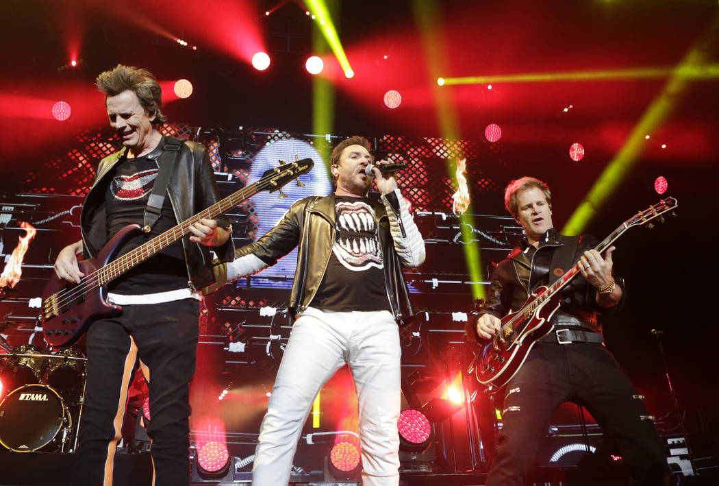 John Taylor, left, Simon Le Bon and Dom Brown of Duran Duran perform at Mandalay Bay hotel-casino on Friday, July 29, 2016. (Bizuayehu Tesfaye/Las Vegas Review-Journal)