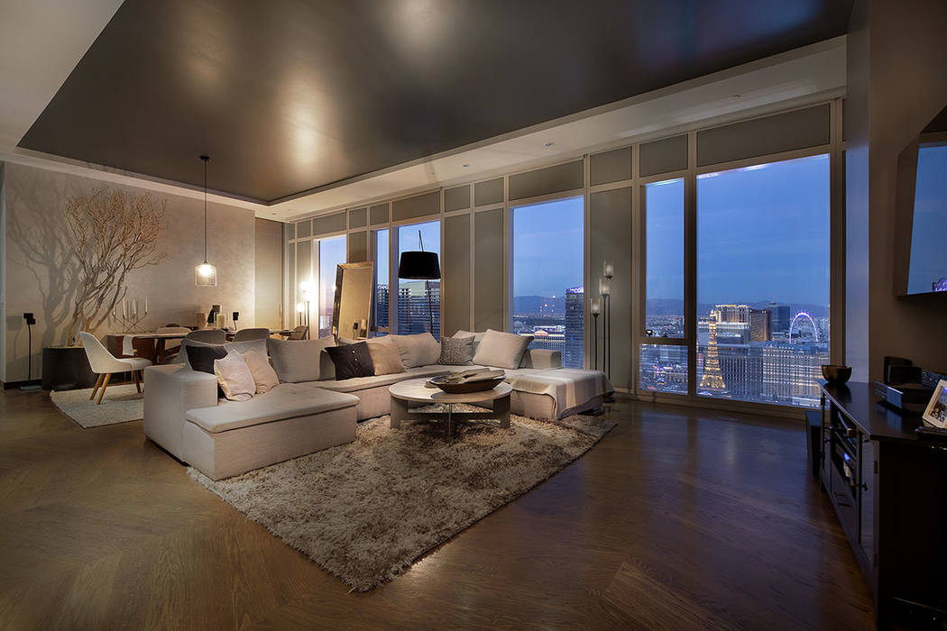 From the living room of unit 4504 in Waldorf Astoria is a view of the Las Vegas Strip. (Acclaim)