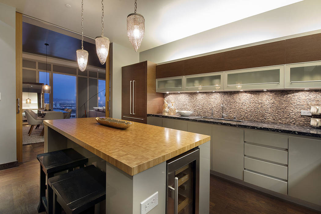 The kitchen in unit 4504 in the Waldorf Astoria has all the extras. (Acclaim)