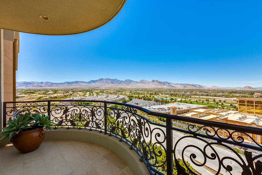The balcony in unit 1603 in One Queensridge Place has a sweeping view of the Las Vegas Valley. (Ivan Sher Group)