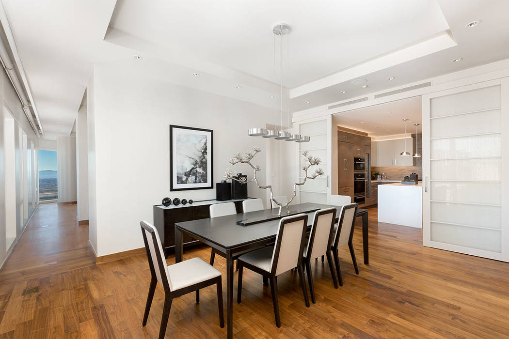 The dining room in Waldorf Astoria unit No. 2403. (Luxury Estates International)