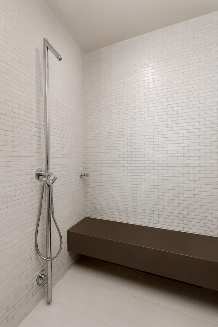 The master bath shower in Waldorf Astoria unit No. 2403. (Luxury Estates International)