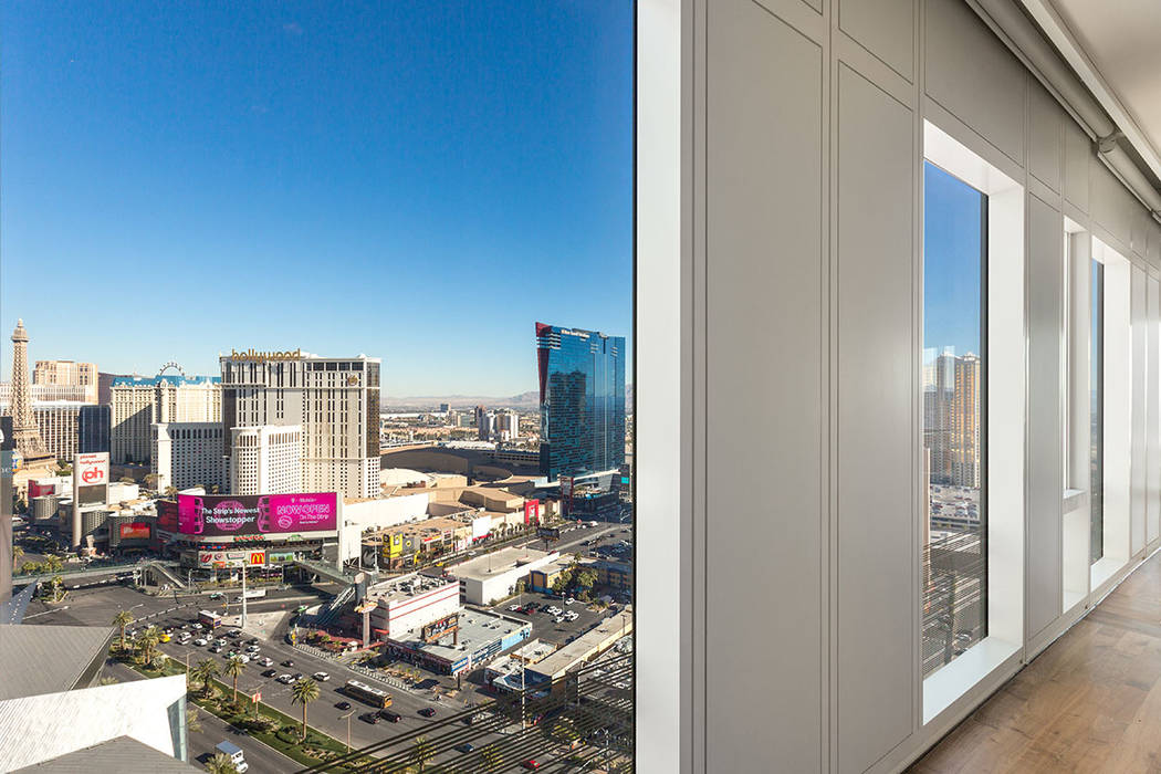 The Waldorf Astoria unit No. 2403 showcases sweeping views of the Las Vegas Strip. (Luxury Estates International)