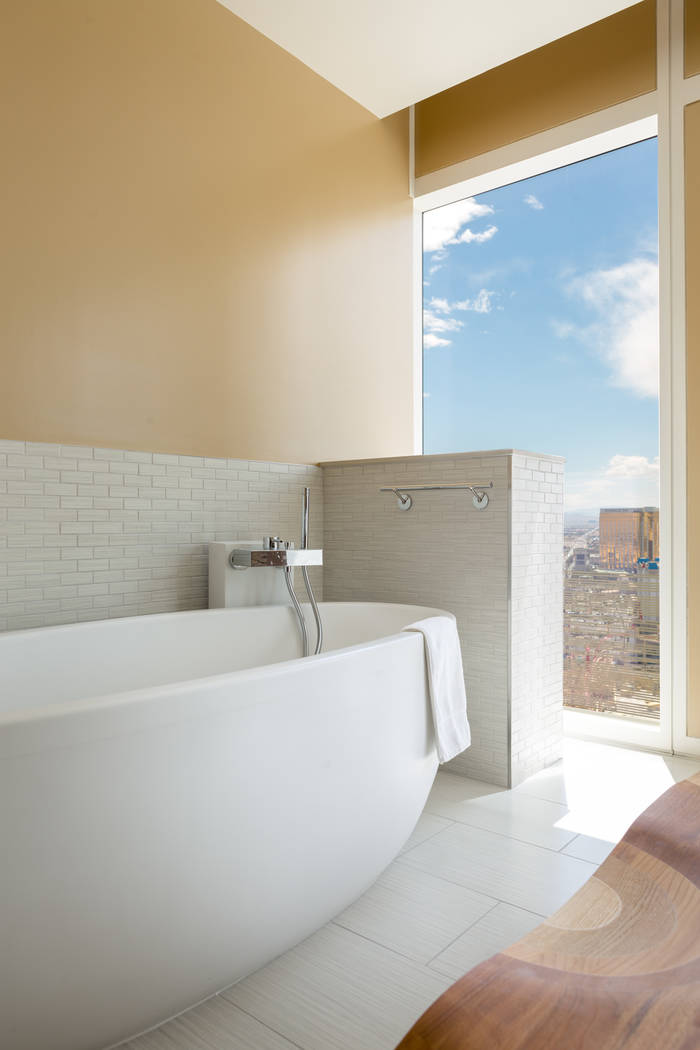 The master bath in unit 3604 in Waldorf Astoria. (Luxury Estates International)