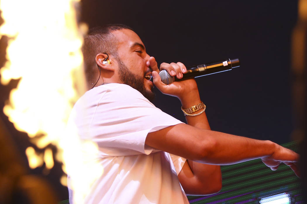 French Montana performs at the Downtown stage during the first day of the annual Life is Beautiful festival in downtown Las Vegas on Friday, Sept. 21, 2018. Chase Stevens Las Vegas Review-Journal ...