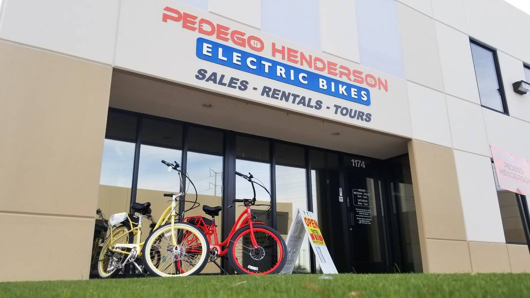 Pedego Henderson, where $110 will get you a day on a premium electric bike, is at 1174 Center Point Drive in a business area near Acacia Park. (Natalie Burt)