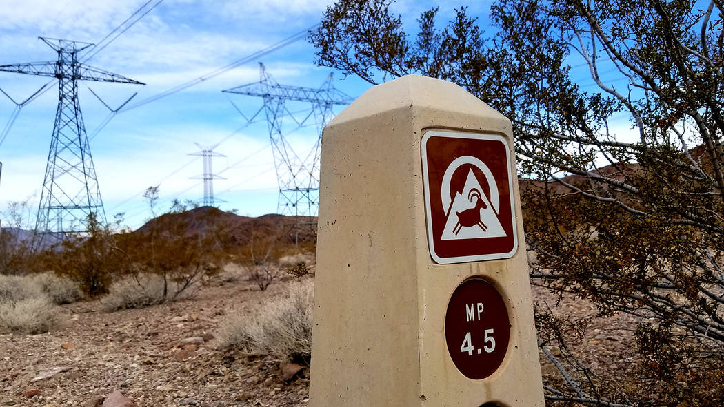 Walkers and cyclists can find themselves in the middle of Southern Nevada's power and water grid in the shadow of the River Mountains. (Natalie Burt)