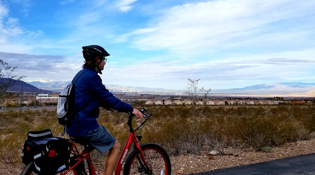 The Henderson portion of the River Mountains Loop Trail offers a distant panorama of the Las Vegas Strip with its Spring Mountains backdrop. (Natalie Burt)
