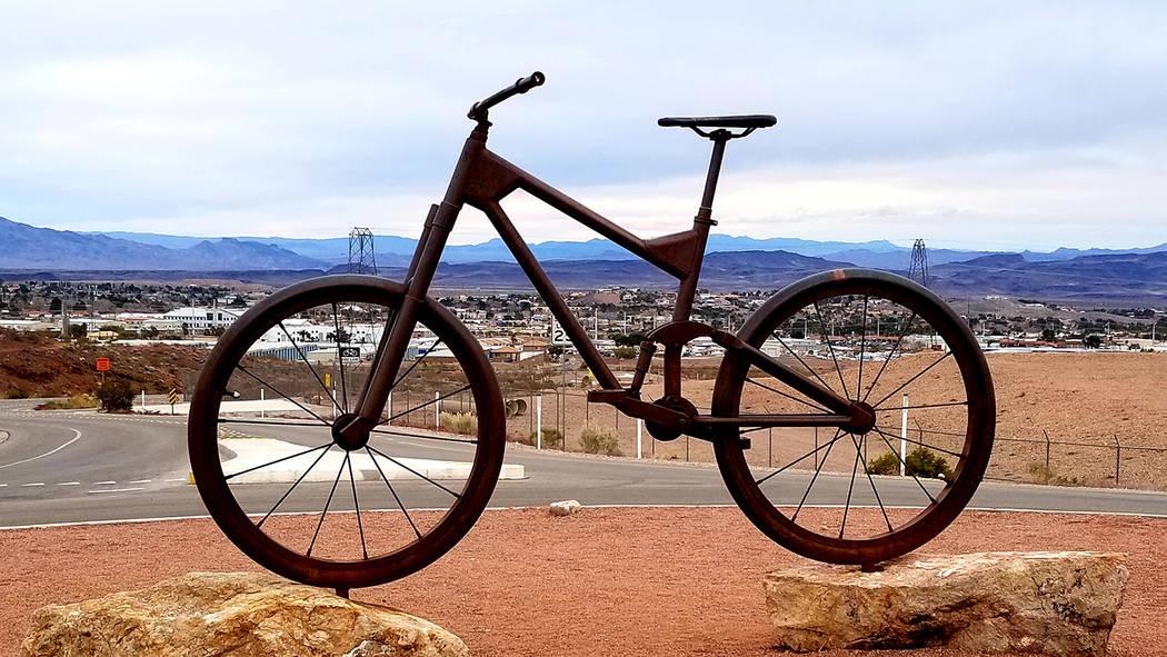 A mountain bike sculpture is seen along the River Mountains Loop Trail near Bootleg Canyon. (Natalie Burt)