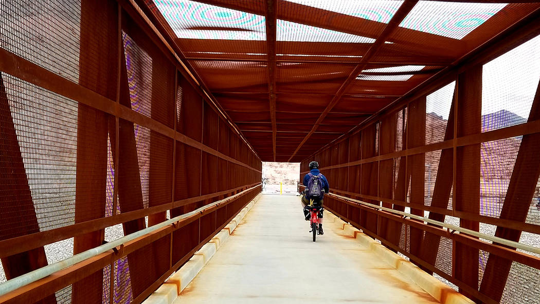 A pedestrian bridge crosses U.S. Highway 95/Highway 11 near Railroad Pass. The bridge connects Henderson's Union Pacific Railroad Trail with River Mountains Loop Trail. (Natalie Burt)