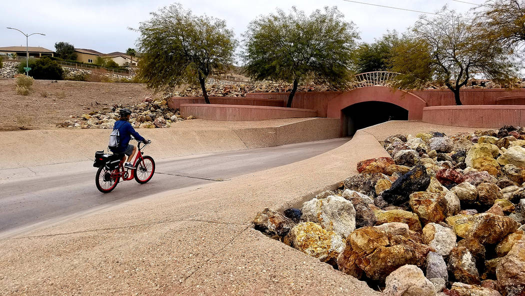 Tunnels and trails used for both recreation and drainage are part of Boulder City's cut of River Mountains Loop Trail. (Natalie Burt)