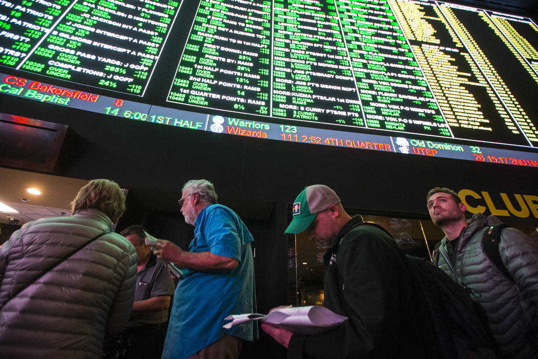 Bettors line up to place prop bets for the Super Bowl at the Westgate Superbook in Las Vegas on Thursday, Jan. 24, 2019. (Chase Stevens/Las Vegas Review-Journal) @csstevensphoto
