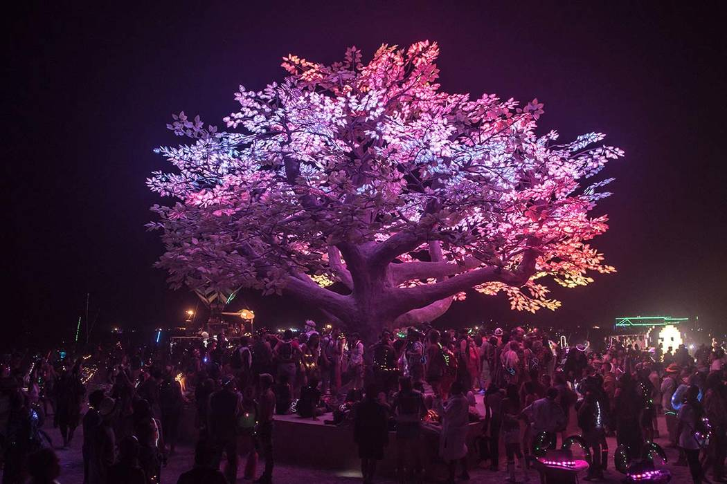 The Wormwood Tree is shown at Burning Man 2017. The installation is headed for Caesars Palace on the Strip this fall. (Eleanor Preger)