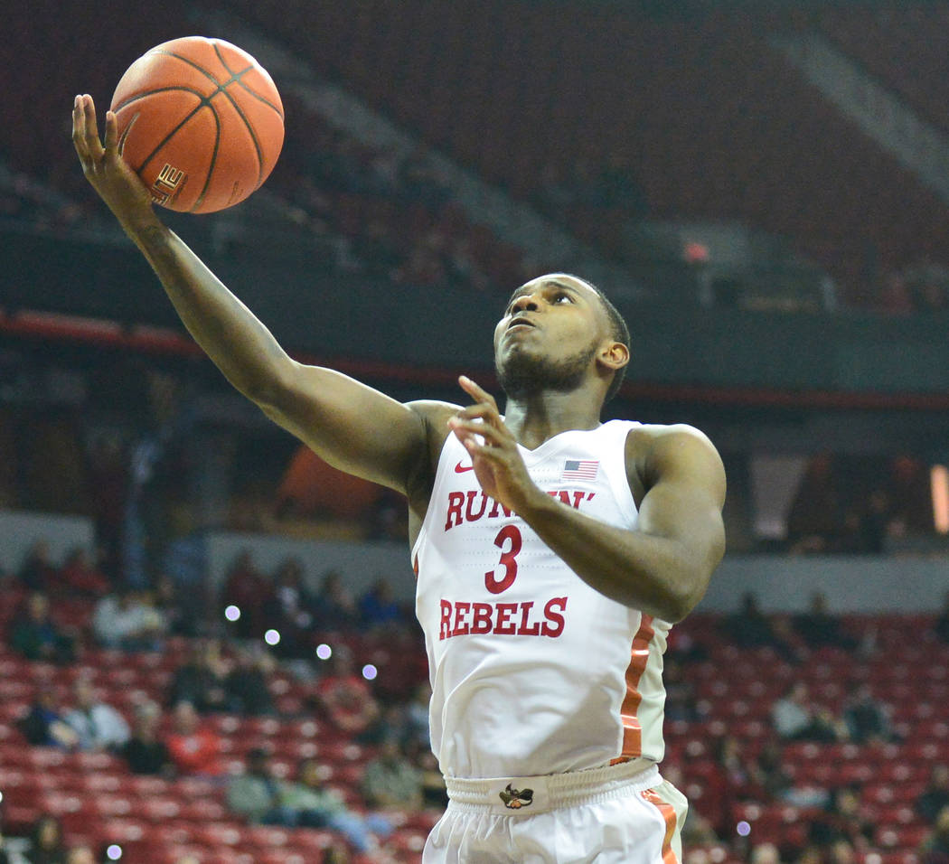 UNLV Rebels guard Amauri Hardy (3) takes a shot during the first half of a game between UNLV and Fresno State at the Thomas & Mack Center in Las Vegas, on Saturday, Feb. 9, 2019. Brett Le Blan ...