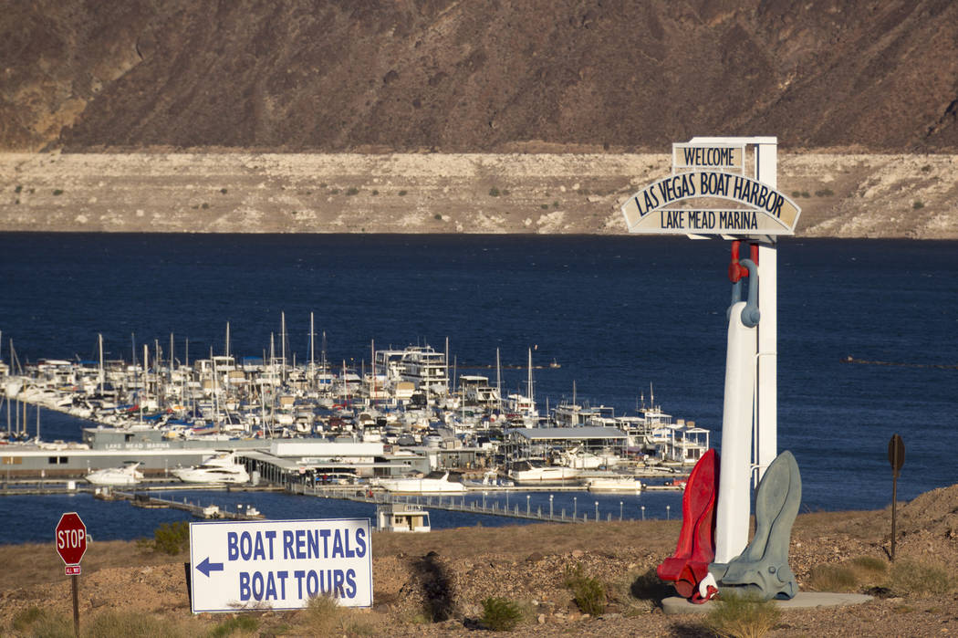"Lake Mead Marina sits well below the ""bathtub ring"" at Lake Mead National Recreation Area on Sunday, Oct. 14, 2018. Richard Brian Las Vegas Review-Journal @vegasphotograph"