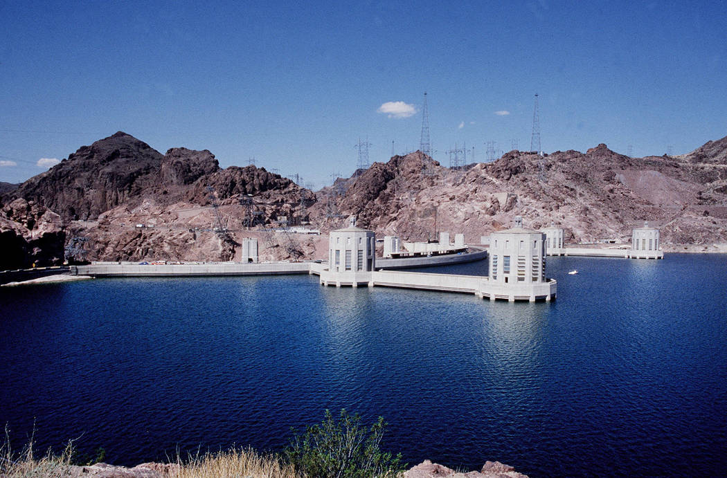 Hoover Dam and Lake Mead are seen from the Arizona side in fall 1983. (Jerry Henkel/Las Vegas Review-Journal)