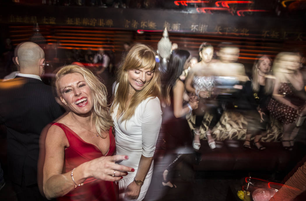 Club goers socialize at Tao Las Vegas on Thursday, Jan. 31, 2019, at The Grand Canal Shoppes, in Las Vegas. (Benjamin Hager/Las Vegas Review-Journal) @BenjaminHphoto