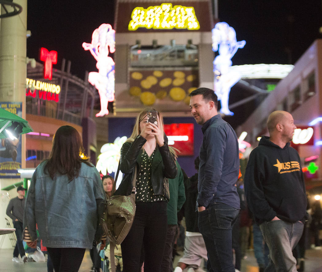 The Fremont Street Experience is packed on Wednesday, Jan. 30, 2019, in Las Vegas. (Benjamin Hager/Las Vegas Review-Journal) @BenjaminHphoto