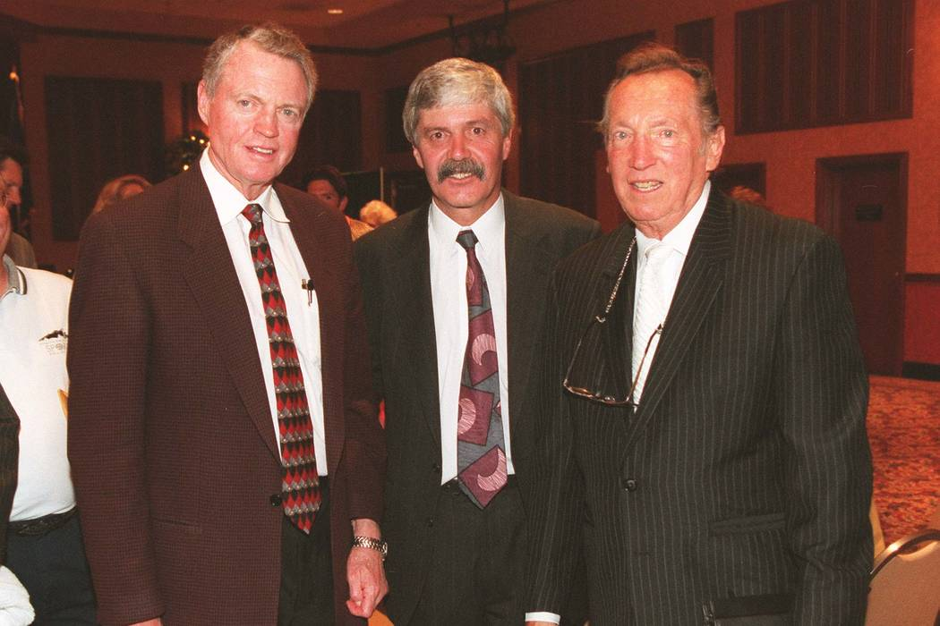 Sports N Coach Tom Osborn David Humm inductee and Al Davis owner of the Oakland Raiders attend the Southern Nevada Sports Hall of Fame dinner held at AZ Charlies Friday night RJ photo by Craig L M ...