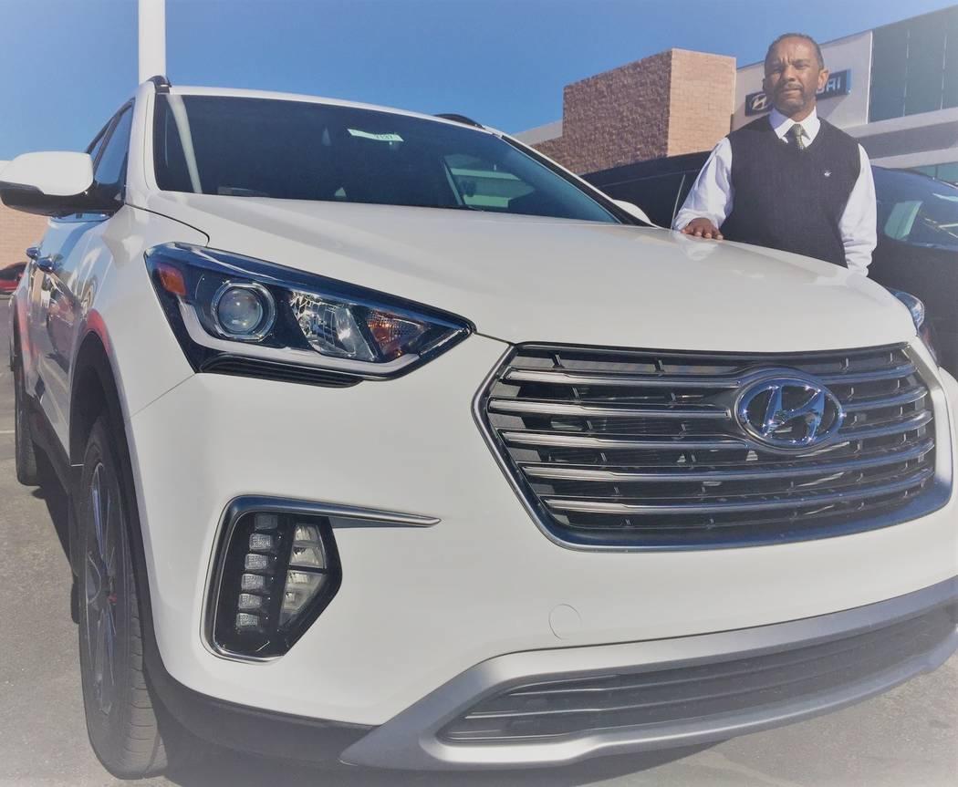 Hyundai of Las Vegas internet sales consultant Tony Fisher shows off a 2019 Hyundai Santa Fe sport utility vehicle at the dealership at 7150 W. Sahara Ave. (Hyundai of Las Vegas)