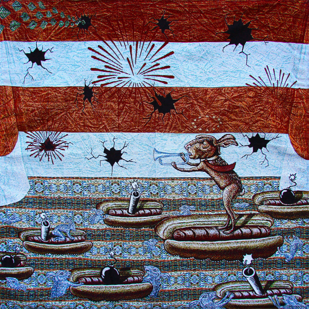 """""""Independence Day Cracking"""" by Kristy Deetz is on display in """"Threads, Folds & Rabbit Holes: Complex Webs of Making"""" at CSN's Fine Art Gallery. (Kristy Deetz)"""