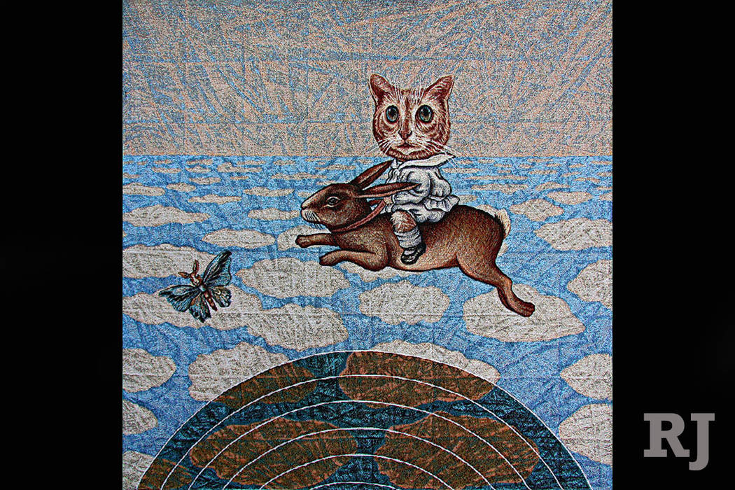 """""""Rabbit and Kitty Boy Escape"""" by Kristy Deetz is on display in """"Threads, Folds & Rabbit Holes: Complex Webs of Making"""" at CSN's Fine Art Gallery. (Kristy Deetz)"""