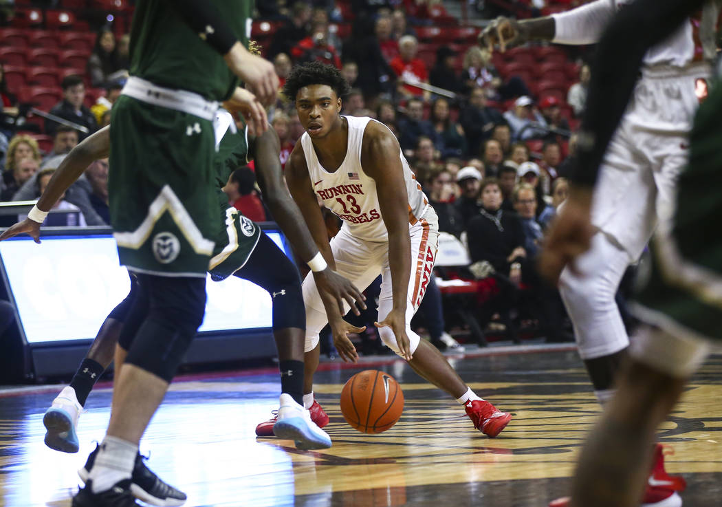 UNLV Rebels guard Bryce Hamilton (13) brings the ball up court against Colorado State during the first half of a basketball game at the Thomas & Mack Center in Las Vegas on Wednesday, Jan. 2, ...