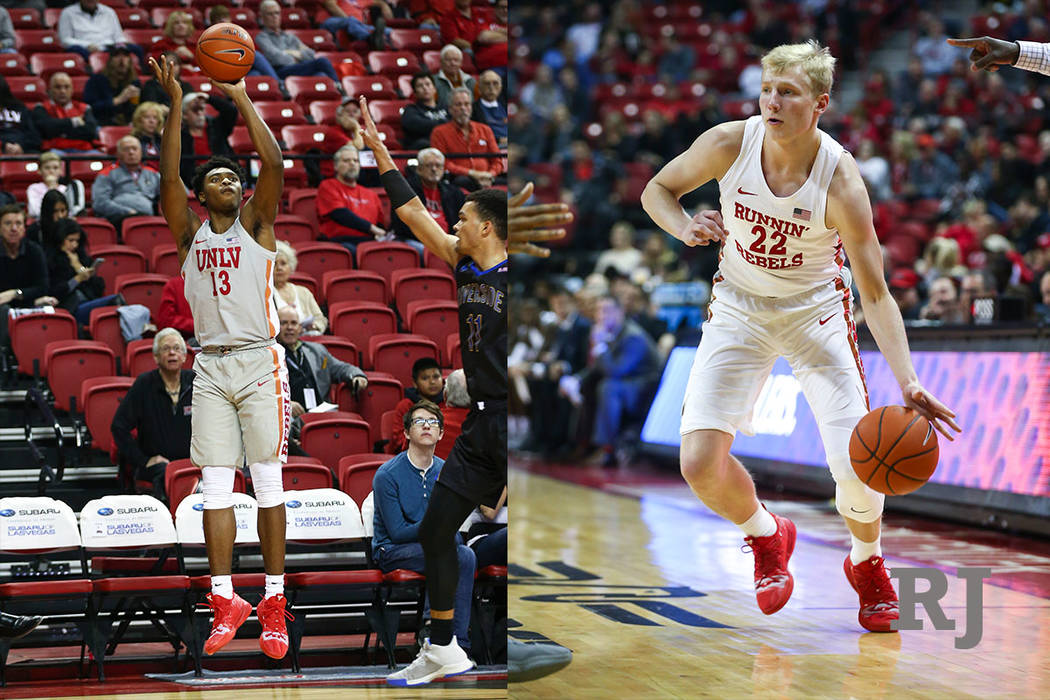 A composite photo of UNLV Rebels guard Bryce Hamilton (13) against the UC Riverside Highlanders during the first half of a basketball game at the Thomas & Mack Center in Las Vegas on Tuesday, Nov. ...