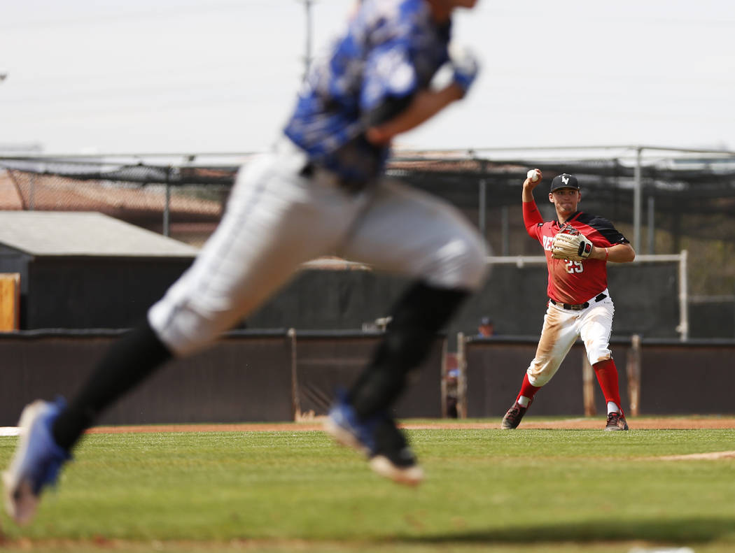 UNLV'S infielder Dillon Johnson (25) throws to first base against Air Force during the fourth inning at the Earl Wilson Stadium in Las Vegas on Sunday, April 15, 2018. Andrea Cornejo Las Vegas Rev ...