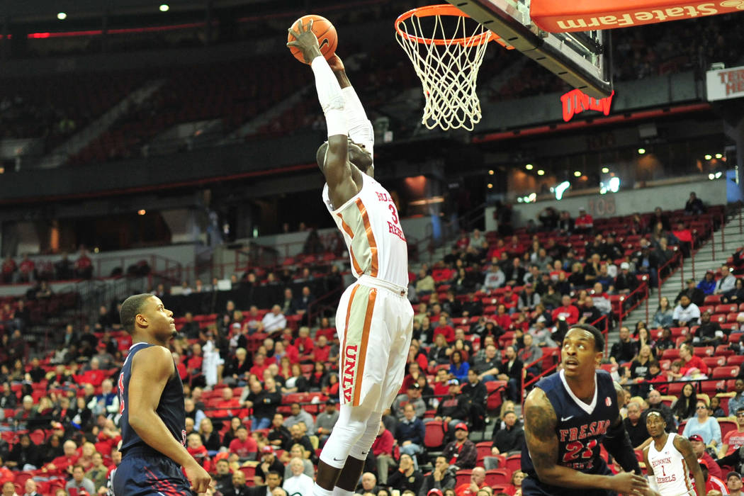 UNLV Rebels forward Cheikh Mbacke Diong (34) dunks the ball during the second half of a game between UNLV and Fresno State at the Thomas & Mack Center in Las Vegas, on Saturday, Feb. 9, 2019. ...