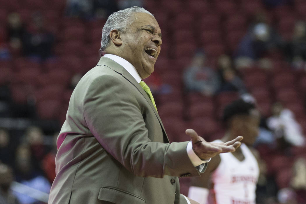 UNLV head coach Marvin Menzies reacts to a call in the second half during the Rebels home matchup with Air Force on Tuesday, Feb. 12, 2019, at the Thomas & Mack Center, in Las Vegas. Review-Jo ...