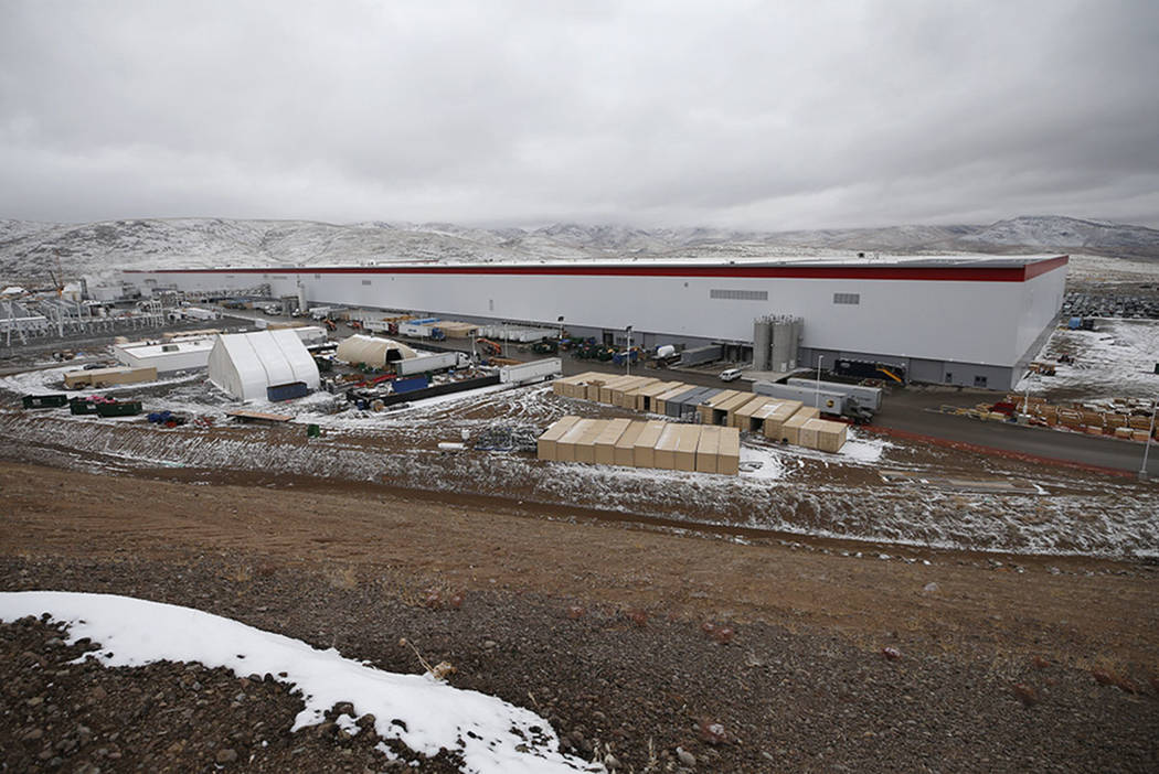The Tesla Gigafactory, east of Reno, seen on Tuesday, Dec. 4, 2018, employs more than 7,000 employees. (Cathleen Allison Special to Las Vegas Review-Journal)