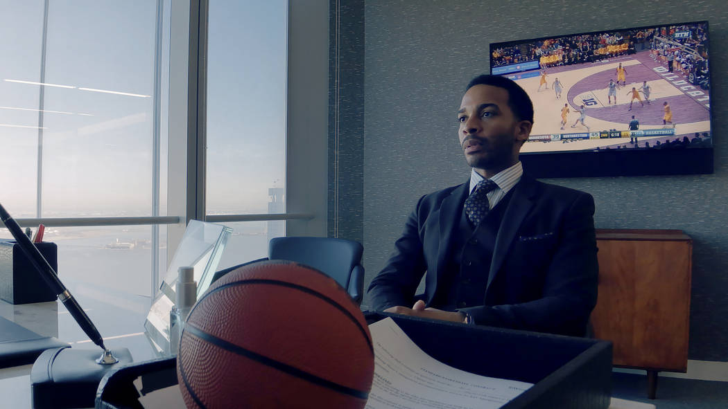 André Holland as Ray Burke in High Flying Bird, directed by Steven Soderbergh. (Peter Andrews/Netflix)