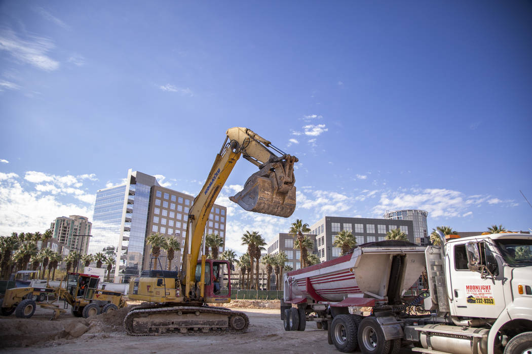 Construction continues on site of a building project at the Hughes Center office park in Las Vegas, Thursday, Jan. 31, 2019. Caroline Brehman/Las Vegas Review-Journal