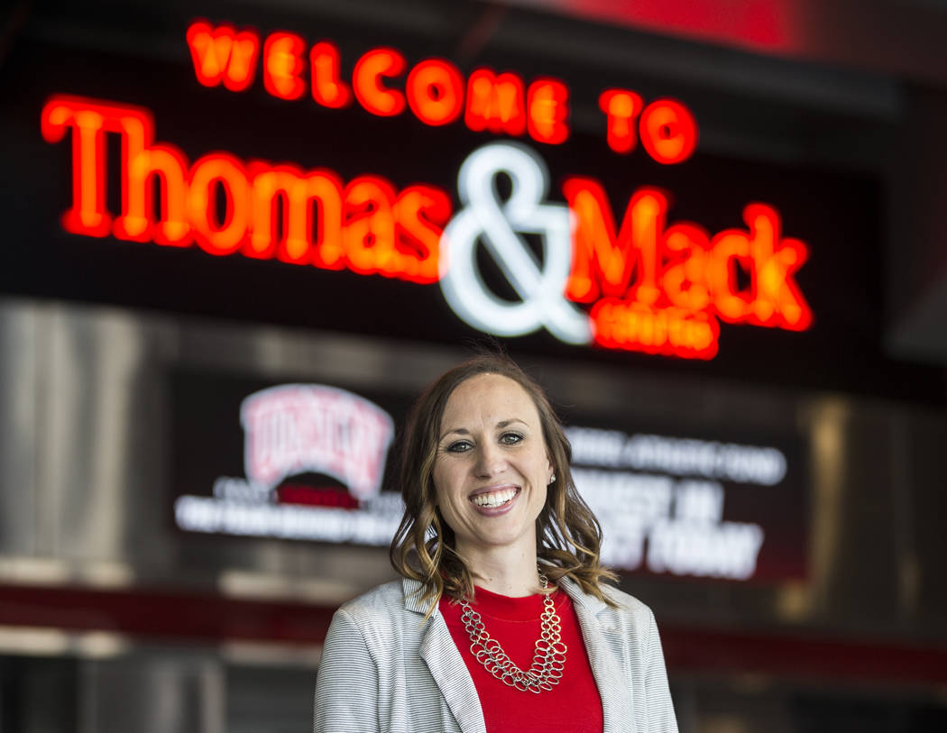 Kacey Oiness, UNLV's first full-time sports psychologist, on Friday, Feb. 8, 2019, at the Thomas & Mack Center, in Las Vegas. (Benjamin Hager/Las Vegas Review-Journal) @BenjaminHphoto