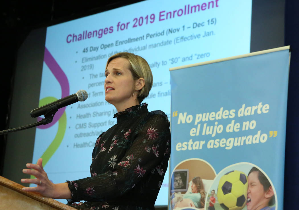 Heather Korbulic, executive director for the Silver State Health Insurance Exchange, speaks at the Nevada Health Link forum on Wednesday, Oct. 17, 2018, in Las Vegas. The forum is for health insur ...