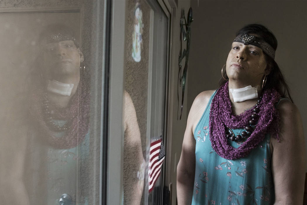 Elizabeth Cole, a trans woman and hate crime victim who was shot in the neck, at her home in Henderson on Friday, Feb. 1, 2019. (Benjamin Hager/Las Vegas Review-Journal) @BenjaminHphoto
