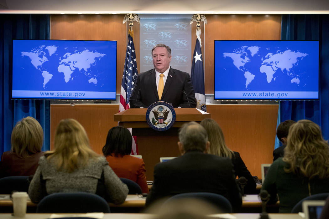 Secretary of State Mike Pompeo speaks at a news conference at the State Department in Washington, Friday, Feb. 1, 2019. Secretary of State Mike Pompeo has announced that the U.S. is pulling out of ...