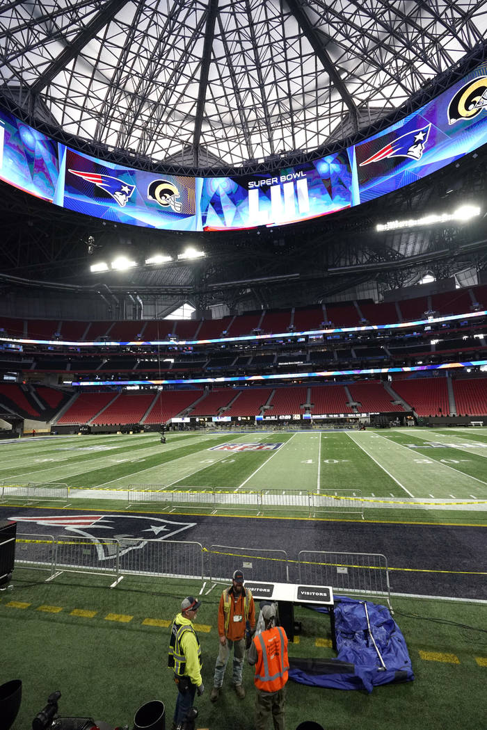 Mercedes-Benz Stadium is shown during a tour for the NFL Super Bowl 53 football game Tuesday, Jan. 29, 2019, in Atlanta. (AP Photo/David J. Phillip)